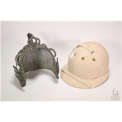 Vintage English made J. Salter & Son linen polo hat and a metal Tibetan metal helmet
