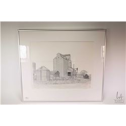 Framed limited edition print Ellerslie Elevator pencil signed by artist Rey Dahlen, 65/100