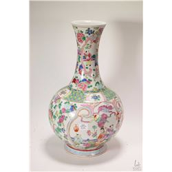 "Hand painted famille rose Oriental vase 16"" in height"