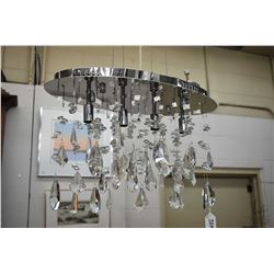 New Four light chrome and crystal chandelier, looks to fit LEDs, 18' wide. Note: No Shipping. Local