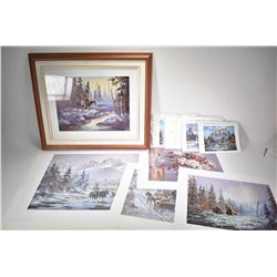 "Selection of prints including nine card stock prints "" Castle Mountain"" and ""The Three Sisters"", fra"