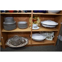 """Two shelf lots of holiday tableware including twelve each of Royal Heritage Collection """"Winter Garla"""