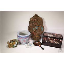 "Selection of Oriental collectibles including carved wooden wall plaque 16"" in height, majolica panda"