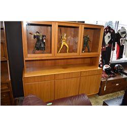 "Mid century modern three drawer, three door teak sideboard with three door illuminated hutch, 71"" in"