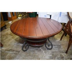 """Modern country style pine plank 40"""" diameter coffee table with metal base"""