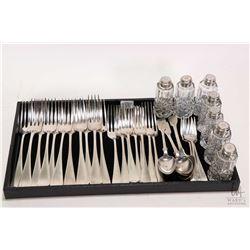 Selection of sterling silver flatware including eleven Birks Sterling dinner forks, six Birks Sterli