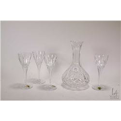 Signed Waterford Crystal wine decanter and four Waterford wine glasses, note glasses have been perso