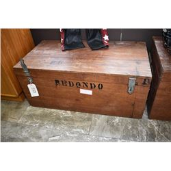 Antique all wood hinged lid chest with hand hammered hardware