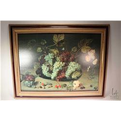 Framed print still-life, fruit and flowers
