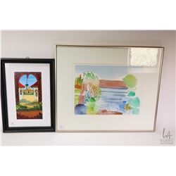 Three framed artworks including hand painted tile signed by artist, original watercolour abstract si