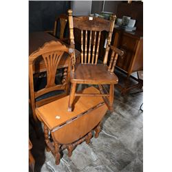 Child sized pressed back rocking chair and a small gate leg, single drawer, drop leaf table