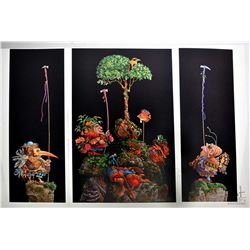 "Folio containing three James C. Christensen prints ""Six Bird Hunter's in full Camouflage ""limited ed"