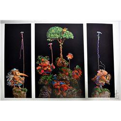 "Folio containing three James C. Christensen prints ""Six Bird Hunter's in full Camouflage ""limited ed"
