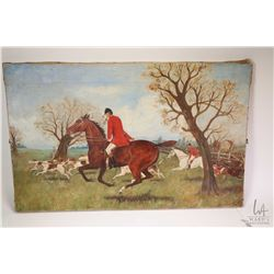 Antique oil on canvas painting of a fox hunting scene, not artist signature found but dated June 23r