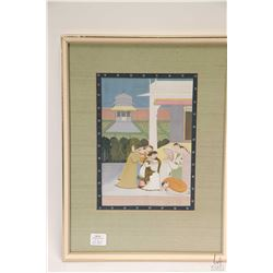 Framed original Middle Eastern watercolour painting of a prayer scene, no artist signature seen, 8 1