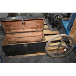 Vintage wooden tool box with three open end wrenches, box wrench with pulley plus an antique wood an