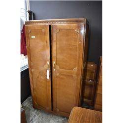Art deco two door wardrobe and double headboard, and footboard