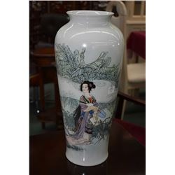 "Oriental vase depicting Geisha 18"" in height"