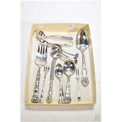 Selection of Birks Regency plate including serving spoon and fork, four soup spoons, four teaspoons,