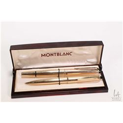 Vintage boxed MontBlanc gold filled pen set including Meisterstuck 74 fountain pen and Meisterstuck