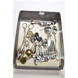 Selection of silver plate collectibles including eight ice-cream parlour spoons, six coffee spoons,