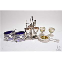 Selection of vintage silver and silver-plate including two sterling silver pierced edge spooners wit