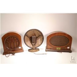 Three antique satellite radios including Westinghouse Type 200-B, one wooden cased with no identifyi