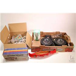 Selection of vintage Meccano, boxed pocket fisherman, vintage tire motif ashtrays and pen holder etc