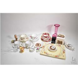 Two trays of china and glass collectibles including Hummel figurine Little Scholar with full bee mar