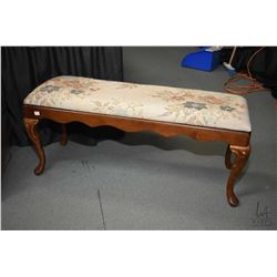 "Mid 20th centuiry 44"" wide bed end bench on tall cabriole supports"