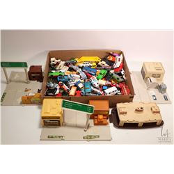 Selection of Mattel auto stations and a large selection of cars including Match Box, Tomica and Corg