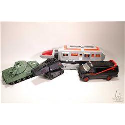 Selection of toys including a Tonka Lunar vehicle, an Ertl A-Team van, Hasbro GI Joe tank and a Luca