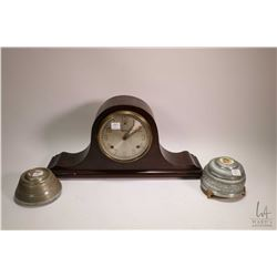 Session top hat mantle clock, working at time of cataloguing, note access door has been replaced and