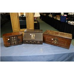 Three antique radios including a walnut cased Crosley Type 6D511, Westinghouse model 57 Special and