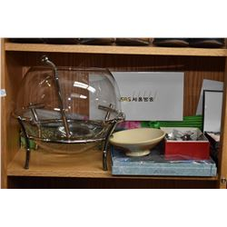 Shelf lot including glass punchbowl, boxed serving spoons and boxed serving forks, gilt center bowl
