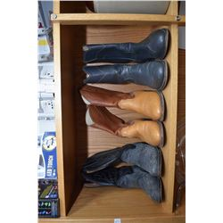 Shelf lot including three pairs of men's size 7 cowboy boots, Stetson size 7 1/4 cowboy het, selecti