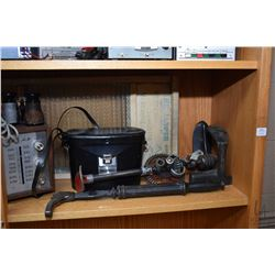 Shelf lot of wood and glass including washboard, Bell & Howell binoculars, hand drill, nail puller,