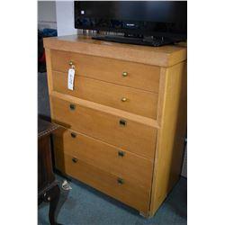 Five drawer 1950's retro oak highboy with brass pulls