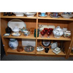 Shelf lot including china and porcelain, ginger jars, tureen, silver overlay double glass cruet, lus