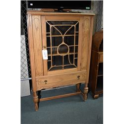Refectory style single door oak china cabinet with bulbous legs