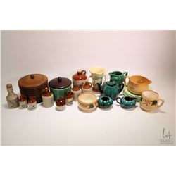 Selection of collectibles including Medalta tobacco humidor, selection of miniature jugs, Blue Mount
