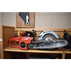 Shelf lot of tools including chain saw, bench grinder, electric stapler etc. all tested and working