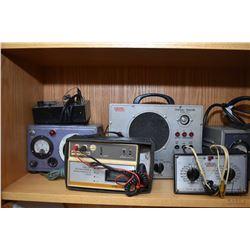 Shelf lot of A.V. test equipment including Ringer yoke and fly back tester, EICO model 147A signal c