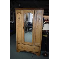 "English oak single mirrored door wardrobe with drawer in base, 74"" in height"