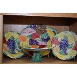 Selection of Fitz and Floyd fruit motif tableware including double handled tray, footed comport and