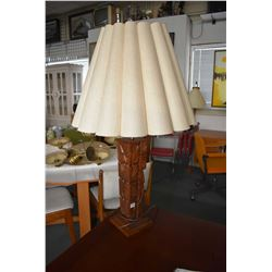 Hand carved wooden totem motif table lamp