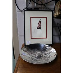 Quality Haida embossed and ink work framed picture signed by artist and a hand hammered copper and s