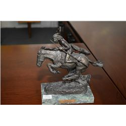 "Small Fredrick Remington bronze ""Cheyenne"" on marble base, 8"" in height"