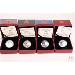 Four Royal Canadian Mint boxed collector coins from The War of 1812 collection including 2013 Laura