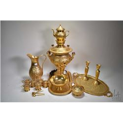 "Gilt over metal Samovar with tray and accessories plus 12"" water pitcher"